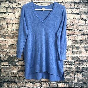 J. Crew Long Sleeve Blue V-neck Shirt - Small Size